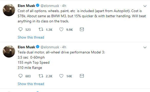 马斯克:新版Model 3将从7月开始交付