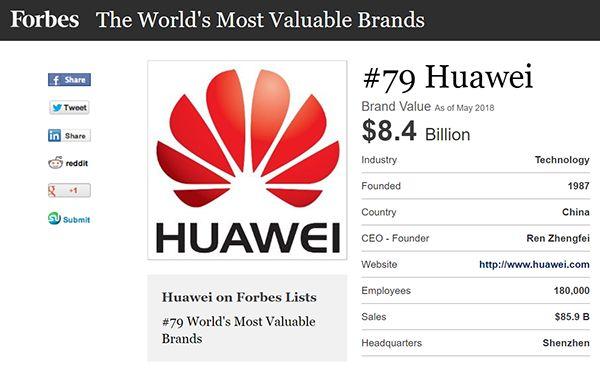 福布斯最具价值品牌榜出炉:华为成中国唯一上榜企业