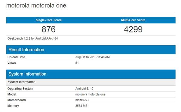 Moto One手机现身Geekbench:或将运行Android One