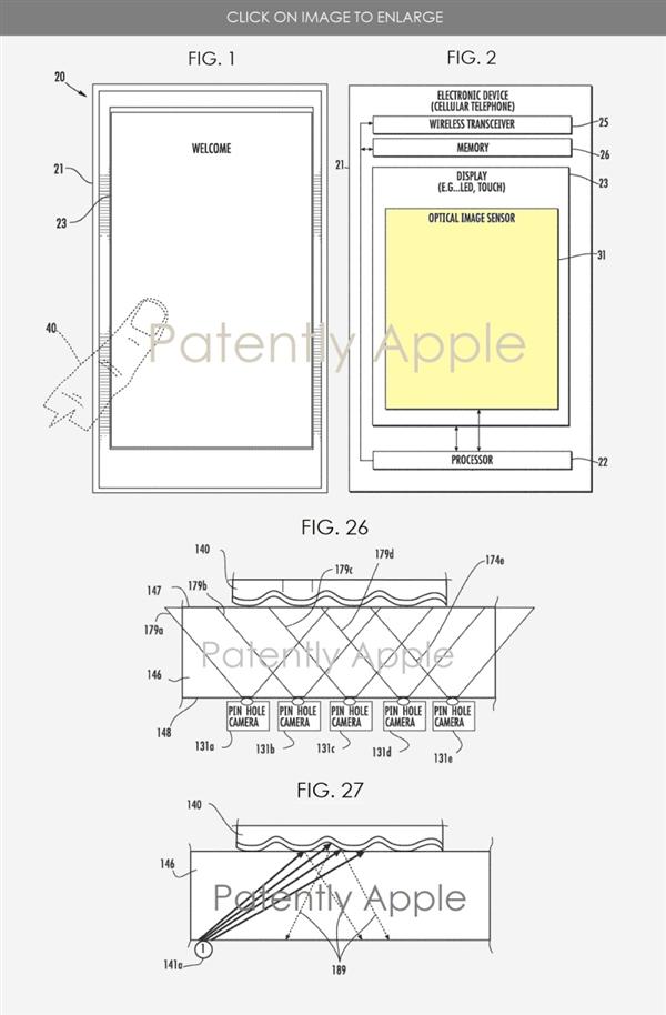 苹果想通过微孔相机3D化指纹信息的方式实现屏下指纹识别