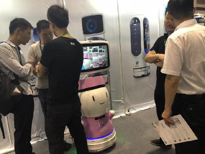 2018中国国际人工智能展览会开幕 擎朗智能携新款无人配送机器人亮相