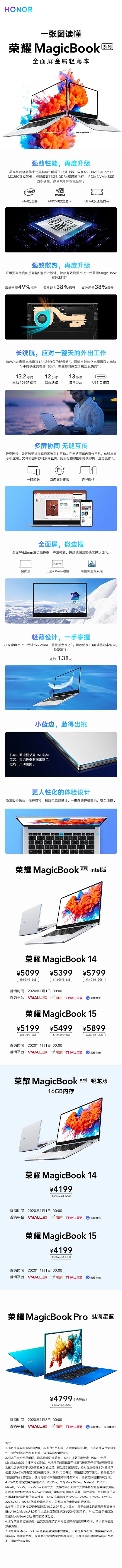 荣耀MagicBook 14&15 Intel版售5099元起:采用英特尔第十代处理器