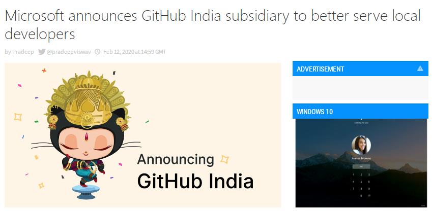 外媒:微软宣布在印度成立GitHub子公司