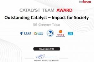 """中国电信主导的5G基站节能项目荣获""""2020TMF催化剂项目最佳社会影响力奖"""""""