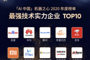 """""""最强技术实力企业TOP10"""",百度荣膺「AI中国」机器之心年度榜单"""