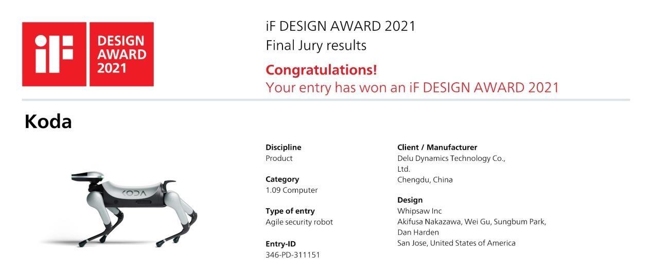 KODA智能狗斩获德国iF设计奖,以实力彰显科技界艺术品范儿