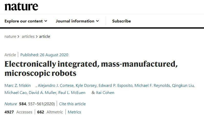 Nature突破:首个比头发丝还细的机器人诞生了!可用针头注射入人体